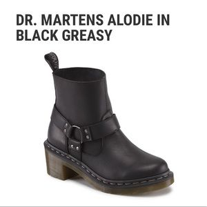 DR.MARTENS | 5 | Black Greasy Leather Alodie Slip-on Ankle Bootie w/ Buckle